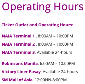 UBE Express Operating Hours